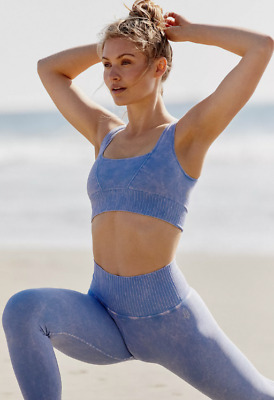NEW Free People Movement Yoga Square Neck Good Karma in Blue XS//S-M//L $48