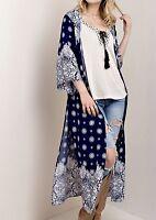 Kimono Blue White Maxi Duster Coat Semi Sheer Gypsy Bandana Print Easy Fit M