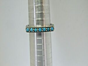 925 STERLING SILVER TURQUOISE /& SEGMENTED TURQUOISE ACCENTS SIZE 8 RING
