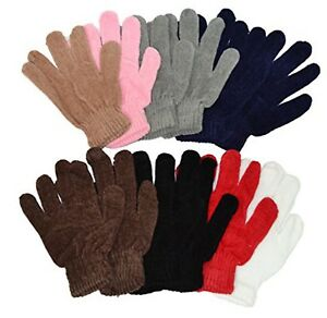 Chenille-Knit-Gloves-Magic-Soft-Winter-Gloves-Unisex-12-Pairs-Wholesale