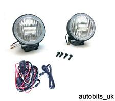 PAIR X2 12V 4x4 ROUND CLEAR FOG LIGHTS LAMPS LIGHT LAMP 102mm E4 + WIRING KIT