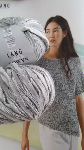 650g EOWYN Bändchen Wolle Lang Yarns Luxus SOMMER Hellgrau Baumwolle Natur TREND