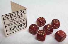 DICE -12mm *GLITTER* RUBY w/GOLD- CHESSEX HAS NEW COLORS! SMALL SIZE SPARKLERS!