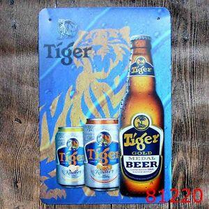 Metal Tin Sign tiger beer gold beer Bar Pub Vintage Retro Poster Cafe ART