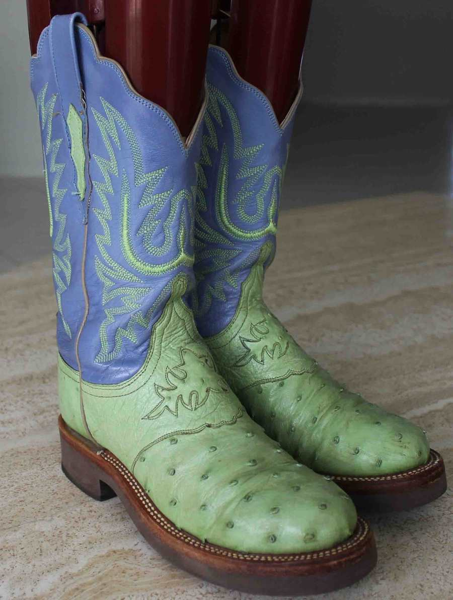 LUCCHESE OSTRICH CREPE WESTERN   COWBOY BOOTS   WOMEN'S SZ 6 B