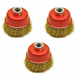 3pc-65mm-Rotary-Brass-Steel-Wire-Brush-Crimp-Cup-Set-wheel-Angle-Grinder-M14
