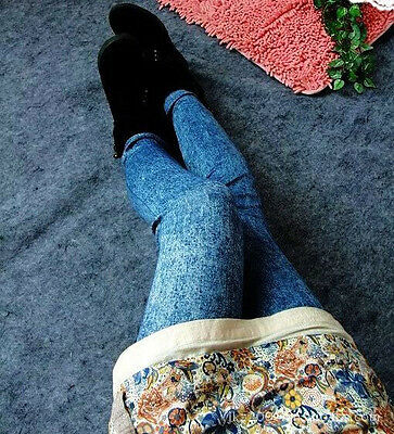 Sexy Women Denim Look Skinny Jeggings Stretchy Slim Leggings Jeans Pencil Pants