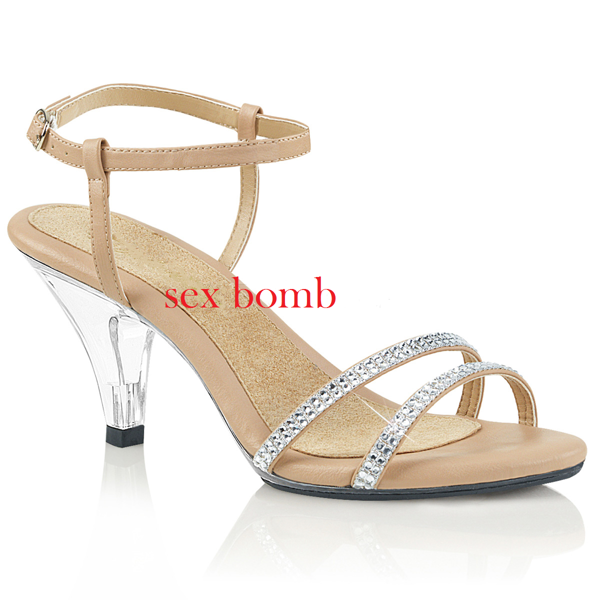 Sexy Sandals Rhinestone Heel 7,5 from 35 to 46 Nude Transparent Strap Glamour