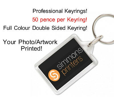 PERSONALISED CUSTOM PROMOTE YOUR BUSINESS KEYRING FOBS - Your Artwork/Photo