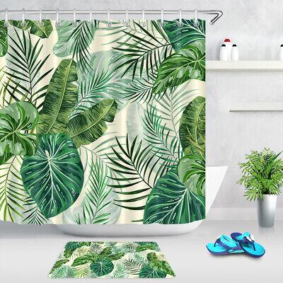 Tropical Green Banana Leaves Tree ShowerCurtainSet Fabric/& 12Hook71X71 Inch