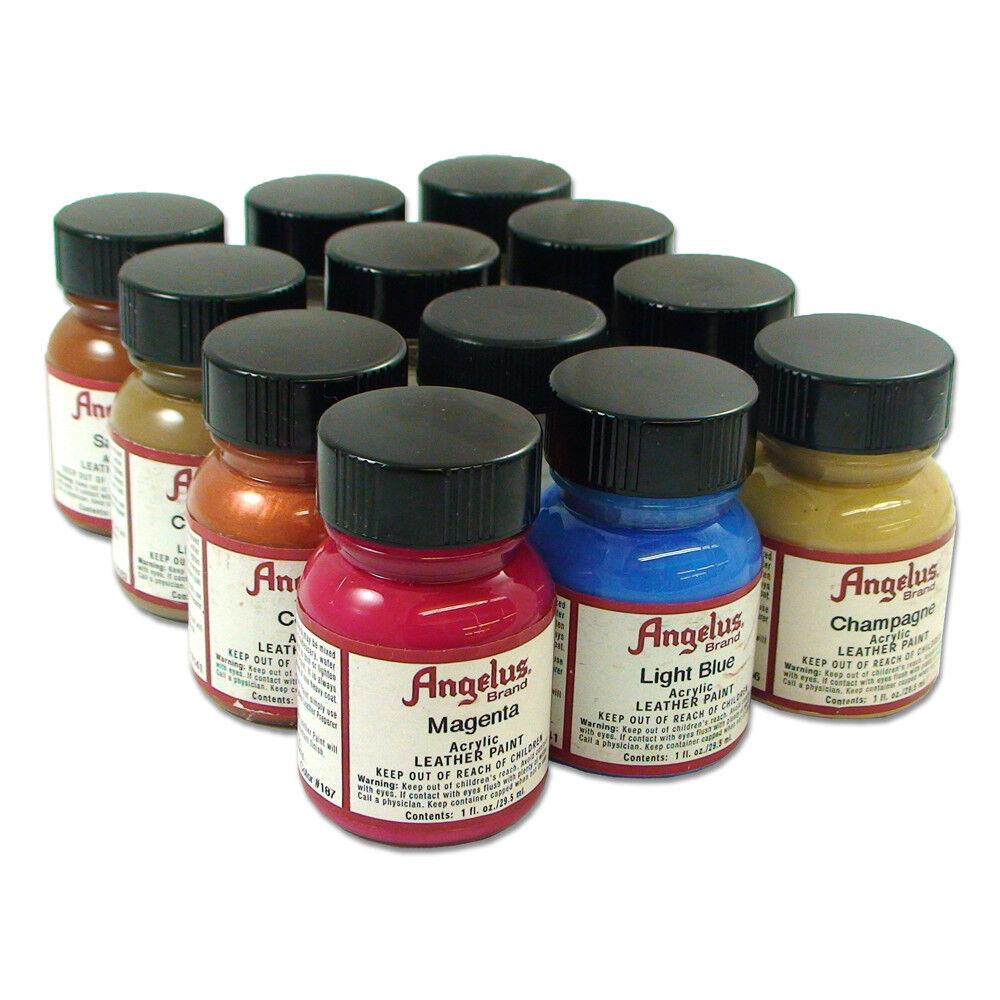 Angelus Acrylic Leather Vinyl Paint Starter Kit Set 1 Pack Of 12 Colors