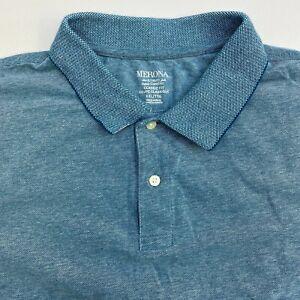 Merona-Polo-Shirt-Mens-XXL-Blue-Short-Sleeve-Casual