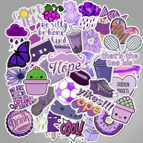 50 Purple Style Sticker for Car Skateboard Luggage Suitcase Laptop Decor W13909