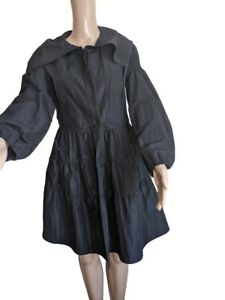 Sugar Lips Womens Reflective Black Button Down Aline Jacket Dress Size Medium