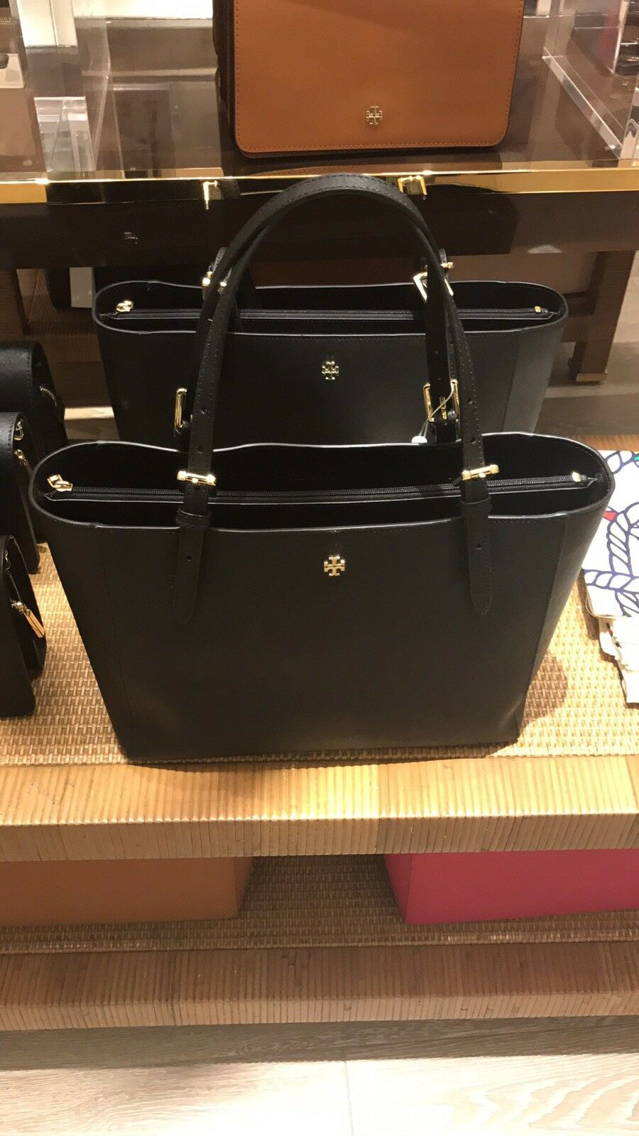 Tory Burch York Small Black Authentic Emerson Buckle Tote Shoulder Bag Luggage 49127 Norton Secured Powered By Verisign
