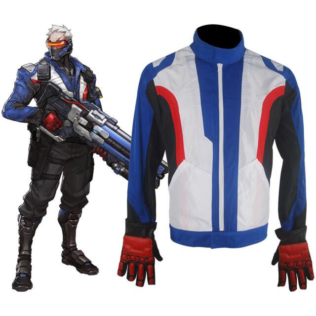 Buy Overwatch Soldier 76 Jacket Coat Gloves Halloween Cosplay
