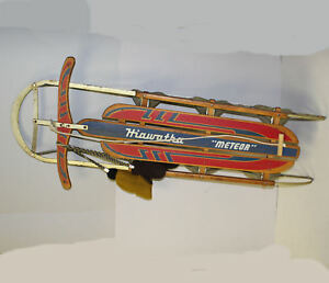 Details About Antique Sled Hiawatha Meteor Metal Runners And Wooden Seat Sled