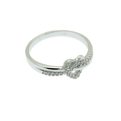 Sparkling Heart Ring Sterling Silver Faux Diamond Pave Size M & R