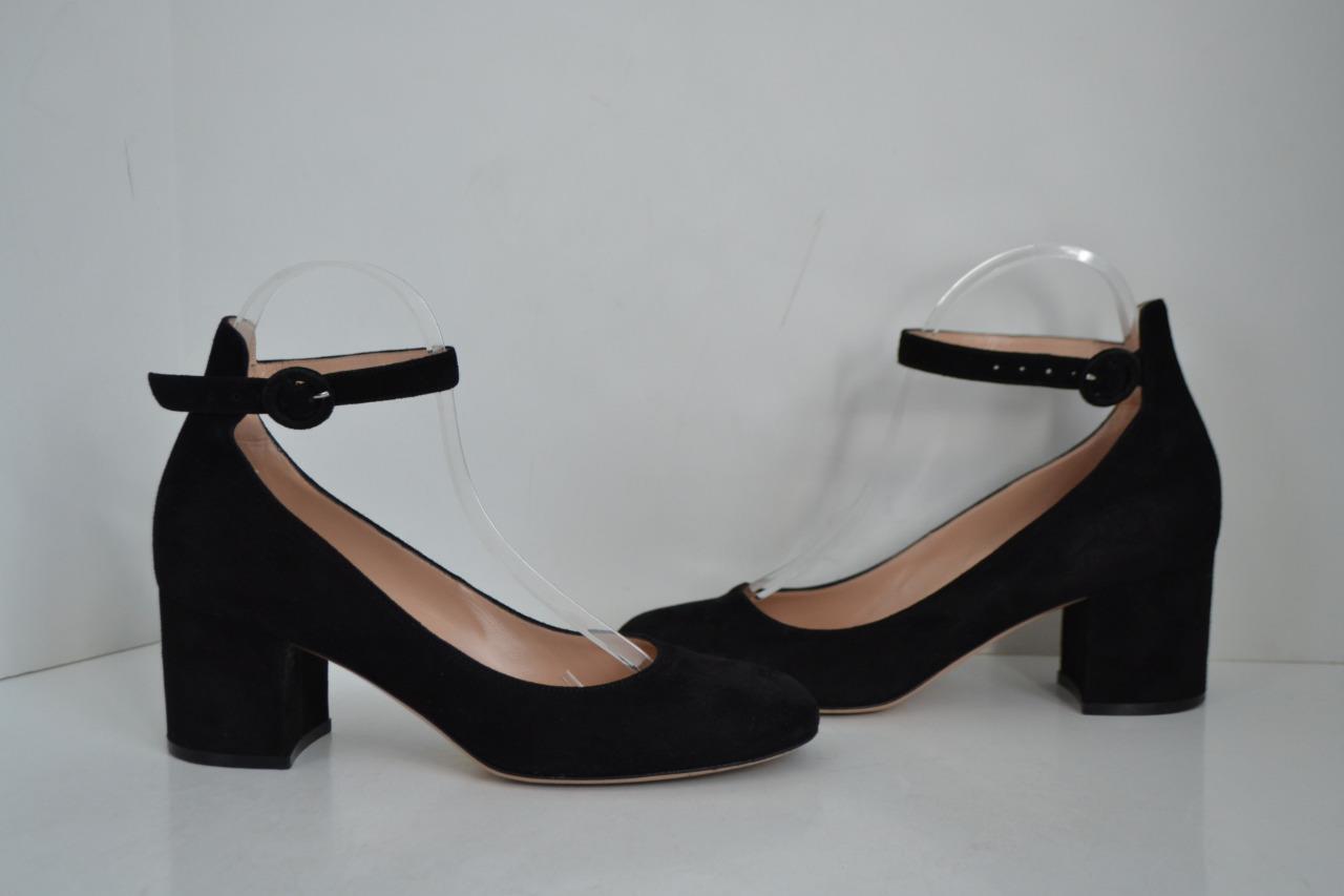 Gianvito Rossi Black Suede Greta w/Ankle Strap/Shoe Size 38.5
