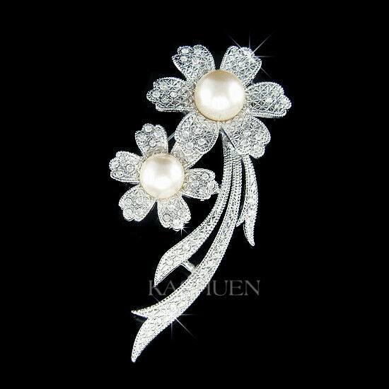 2 Pearl Flower Floral made with Swarovski Crystal Pin Bridal Brooch Jewelry Cute