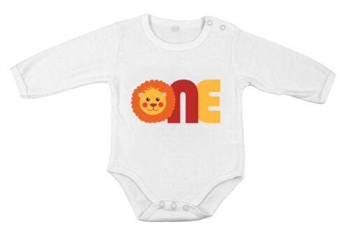Geschenkidee 1 Geburtstag Baby Body Löwe Safari reine Baumwolle langärmlig