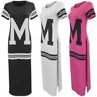 NEW LADIES COLLEGE M PRINT HIGH SIDE SPLIT SLIT LONG TOP WOMENS MIDI DRESS MAXI
