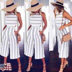 2545dabb8ad0 Women Sleeveless Striped Jumpsuit Romper Casual Clubwear Wide Leg ...