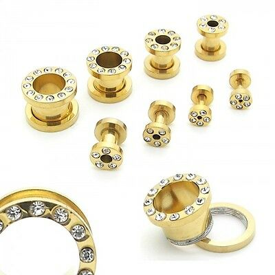 1x oder Set Flesh Tunnel Plug Edelstahl Piercing Gold 1,6 2 3 4 5 6 8 10mm