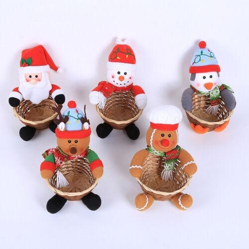 Merry Christmas Candy Storage Basket Deer Snowman Santa Claus Xmas Cookies Bag