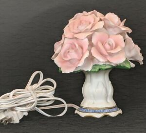 Vintage-Mid-century-Rose-Bouquet-Porcelain-Lamp-Tabletop-Night-Light-6-034-Tall