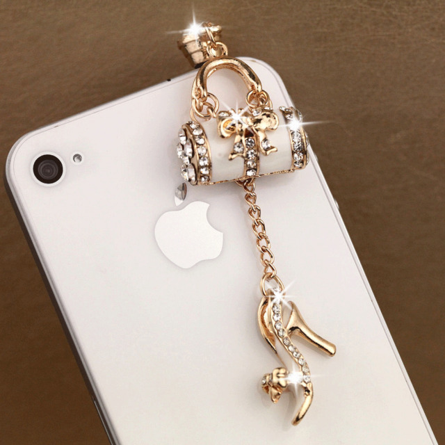 3.5mm Handbag Girl Women Anti Dust Earphone Plug Stopper Cap Fo Smart Cell Phone