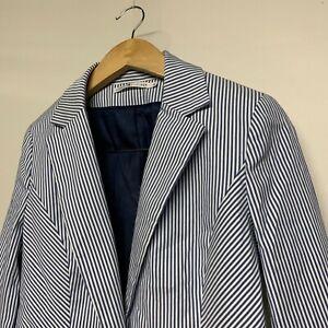 Women-039-s-TOMMY-HILFIGER-Blazer-Coat-Jacket-Cotton-Striped-Blue-Size-UK-8-S-Small