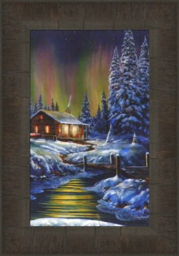 FIRE AND ICE by Jim Hansel 11x15 FRAMED PRINT PICTURE Northern Lights Log Cabin