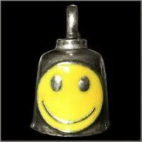 Pewter Motorcycle Gremlin Bell Yellow Smile Smiley Face 70's 60's Made In Usa