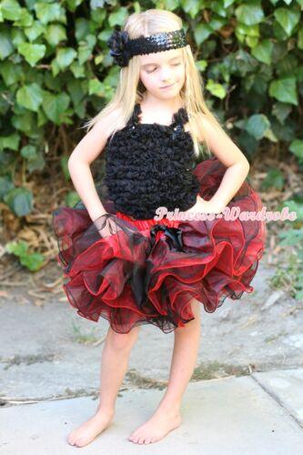 Baby Girl Black Ruffle Bow Tank Top Red Black 8 Layer TuTu Pettiskirt Set 1-8Y