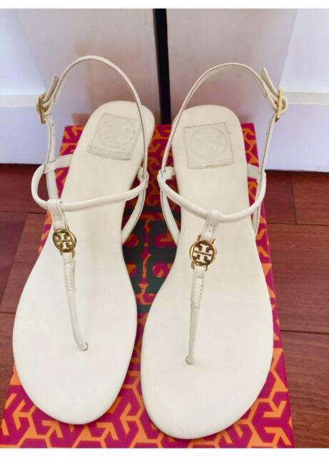 9ab623962c9d7 NIB Authentic Tory Burch Emmy Demi Wedge Sandals in Bleach White Leather Sz  9.5