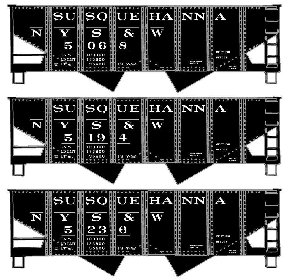 Accurail 8106 HO Scale Susquehanna USRA Twin Hopper 3-Car Set HH