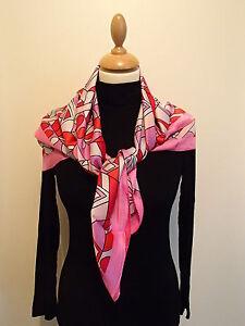 97e13a96906 Foulard carré de soie 83X83 cm silk rose fushia motif géométrique ...
