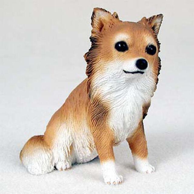 Chihuahua Figurine Hand Painted Statue Longhair