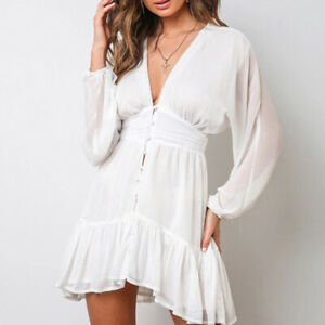 Womens-Chiffon-A-line-Dress-V-Neck-High-Waist-Short-Dresses-Loose-Long-Sleeve