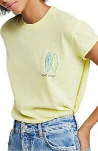 Free-People-Women-Top-Green-Small-S-Embroidered-Catch-Waves-Wipeout-Tee-58-488