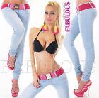 Sexy Women's Skinny Leg Jeans Stretch Denim Belt Size 6 8 10 12 14 XS S M L XL