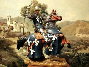 Hand-Painted-Mounted-Medieval-Crusader-Knight-Figure-Realistic-Gift-12cm-4-72-034