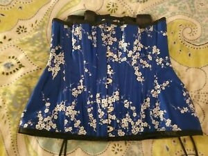 Morgana Femme Couture Handmade Boned Corset in Cobalt Blue Brocade Silk with Whi