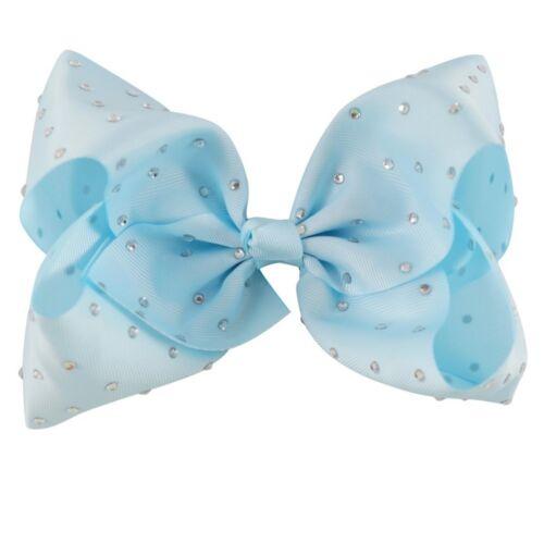 "8/"" Inch Large Crystal Diamante Rhinestone Grosgrain Ribbon Bow Hair Clip Girls"