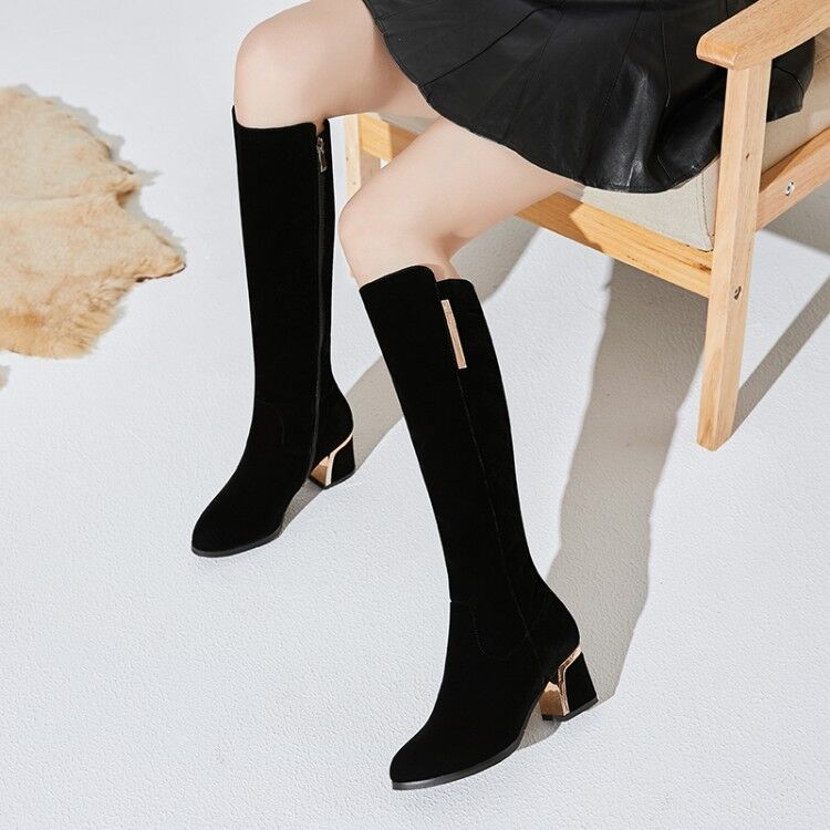 Womens Metalic Decor Fur Lined Warm Winter Suede  Block Heels Knee High Boots