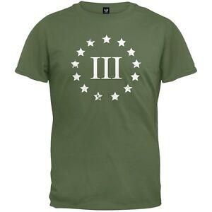 Three-Percenter-Distressed-Mens-T-Shirt-Army-Green