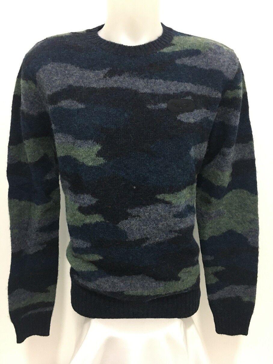 Maglia di Lana Maglione Aeronautica Militare Camouflage Blù TG. L MA 399