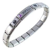 Fibromyalgia Medical Id Alert Italian Charm Bracelet Purple Awareness Ribbon