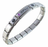 Fibromyalgia Medical Id Alert Italian Charm Bracelet Purple Awareness Ribbon